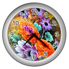 Flowers Artwork Art Digital Art Wall Clocks (silver)  by Amaryn4rt