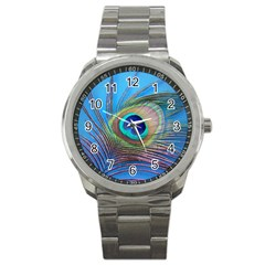 Peacock Feather Blue Green Bright Sport Metal Watch by Amaryn4rt