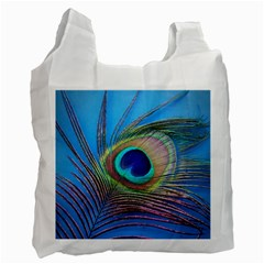 Peacock Feather Blue Green Bright Recycle Bag (one Side) by Amaryn4rt