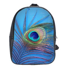 Peacock Feather Blue Green Bright School Bags(large)  by Amaryn4rt