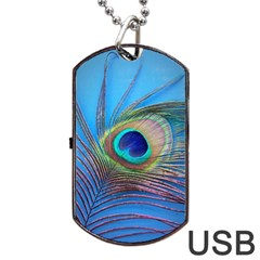 Peacock Feather Blue Green Bright Dog Tag Usb Flash (two Sides) by Amaryn4rt
