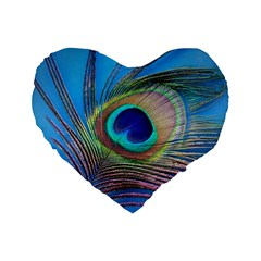 Peacock Feather Blue Green Bright Standard 16  Premium Flano Heart Shape Cushions by Amaryn4rt