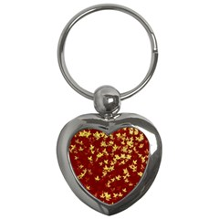 Background Design Leaves Pattern Key Chains (heart)  by Amaryn4rt