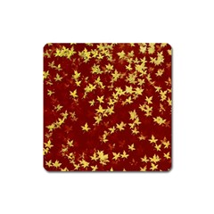 Background Design Leaves Pattern Square Magnet by Amaryn4rt
