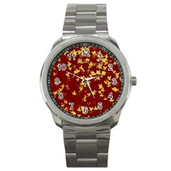 Background Design Leaves Pattern Sport Metal Watch by Amaryn4rt