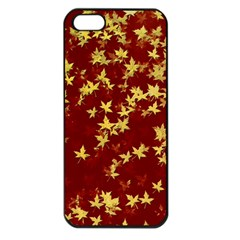 Background Design Leaves Pattern Apple Iphone 5 Seamless Case (black)
