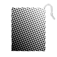 Background Wallpaper Texture Lines Dot Dots Black White Drawstring Pouches (extra Large) by Amaryn4rt