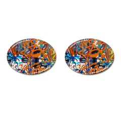 Background Graffiti Grunge Cufflinks (oval) by Amaryn4rt