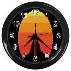 Plane Rocket Fly Yellow Orange Space Galaxy Wall Clocks (black) by Alisyart