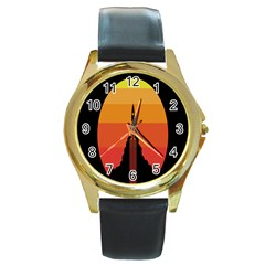Plane Rocket Fly Yellow Orange Space Galaxy Round Gold Metal Watch
