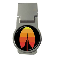 Plane Rocket Fly Yellow Orange Space Galaxy Money Clips (round)