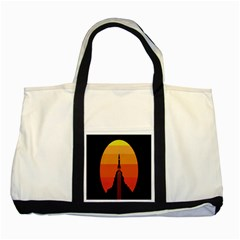 Plane Rocket Fly Yellow Orange Space Galaxy Two Tone Tote Bag by Alisyart
