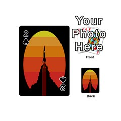Plane Rocket Fly Yellow Orange Space Galaxy Playing Cards 54 (mini)