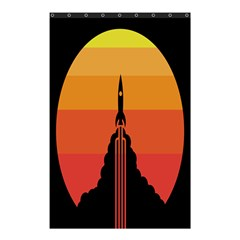 Plane Rocket Fly Yellow Orange Space Galaxy Shower Curtain 48  X 72  (small)