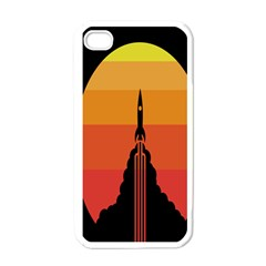 Plane Rocket Fly Yellow Orange Space Galaxy Apple Iphone 4 Case (white)