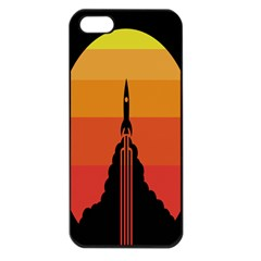 Plane Rocket Fly Yellow Orange Space Galaxy Apple Iphone 5 Seamless Case (black)