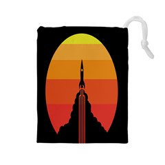 Plane Rocket Fly Yellow Orange Space Galaxy Drawstring Pouches (large)
