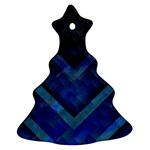 Blue Background Wallpaper Motif Design Christmas Tree Ornament (Two Sides) Front