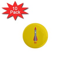 Plane Rocket Space Yellow 1  Mini Magnet (10 Pack)