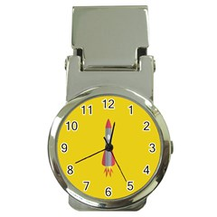 Plane Rocket Space Yellow Money Clip Watches