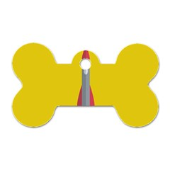 Plane Rocket Space Yellow Dog Tag Bone (one Side)