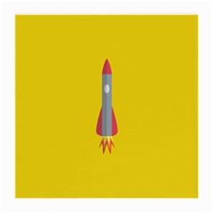 Plane Rocket Space Yellow Medium Glasses Cloth (2 Side) by Alisyart