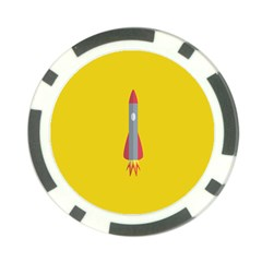Plane Rocket Space Yellow Poker Chip Card Guard (10 Pack) by Alisyart