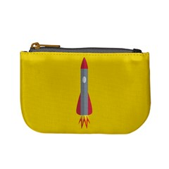 Plane Rocket Space Yellow Mini Coin Purses by Alisyart