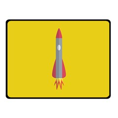 Plane Rocket Space Yellow Fleece Blanket (small) by Alisyart