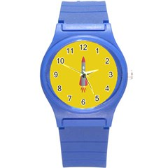 Plane Rocket Space Yellow Round Plastic Sport Watch (s)