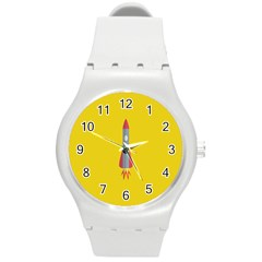 Plane Rocket Space Yellow Round Plastic Sport Watch (m)