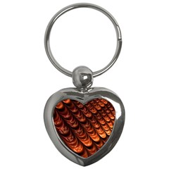 Brown Fractal Mathematics Frax Key Chains (heart)  by Amaryn4rt