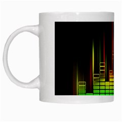 Plaid Light Neon Green White Mugs