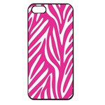 Zebra Skin Pink Apple iPhone 5 Seamless Case (Black) Front
