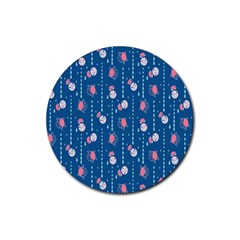 Pig Pork Blue Water Rain Pink King Princes Quin Rubber Round Coaster (4 Pack)