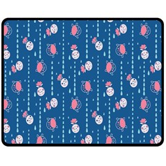Pig Pork Blue Water Rain Pink King Princes Quin Fleece Blanket (medium)