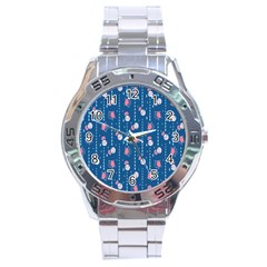Pig Pork Blue Water Rain Pink King Princes Quin Stainless Steel Analogue Watch