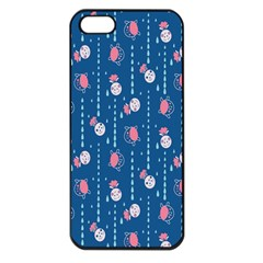 Pig Pork Blue Water Rain Pink King Princes Quin Apple Iphone 5 Seamless Case (black)