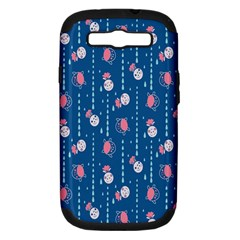 Pig Pork Blue Water Rain Pink King Princes Quin Samsung Galaxy S Iii Hardshell Case (pc+silicone)