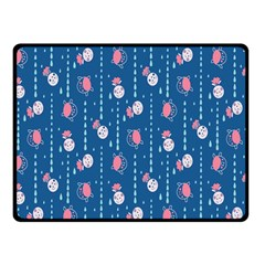 Pig Pork Blue Water Rain Pink King Princes Quin Double Sided Fleece Blanket (small)  by Alisyart