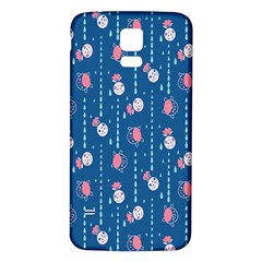 Pig Pork Blue Water Rain Pink King Princes Quin Samsung Galaxy S5 Back Case (white) by Alisyart