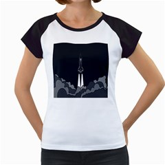 Plane Rocket Grey Women s Cap Sleeve T