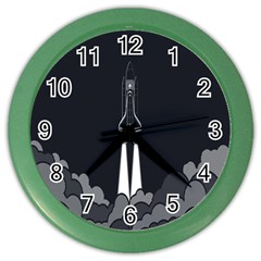 Plane Rocket Grey Color Wall Clocks by Alisyart