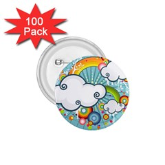 Rainbow Clouds Tree Circle Orange 1 75  Buttons (100 Pack)