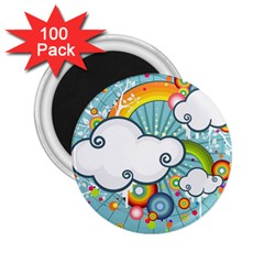 Rainbow Clouds Tree Circle Orange 2 25  Magnets (100 Pack)  by Alisyart