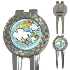 Rainbow Clouds Tree Circle Orange 3 In 1 Golf Divots