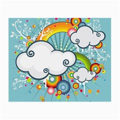 Rainbow Clouds Tree Circle Orange Small Glasses Cloth