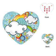 Rainbow Clouds Tree Circle Orange Playing Cards (heart)  by Alisyart