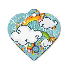 Rainbow Clouds Tree Circle Orange Dog Tag Heart (one Side) by Alisyart