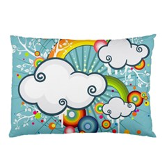 Rainbow Clouds Tree Circle Orange Pillow Case (two Sides)